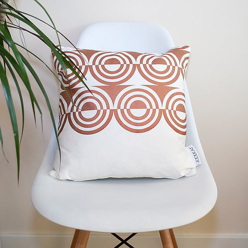 Hand Screen-printed Cushion Cover with Metallic Bronze d'Orsay Geometric Design