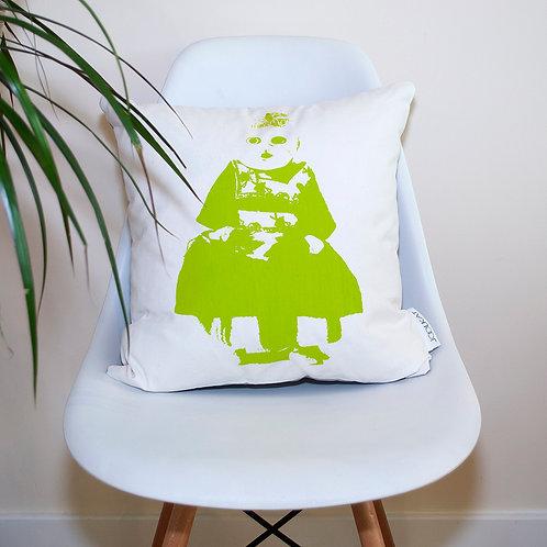 Hand Screen-printed Cushion Cover with Green Febe Souvenir Doll Design