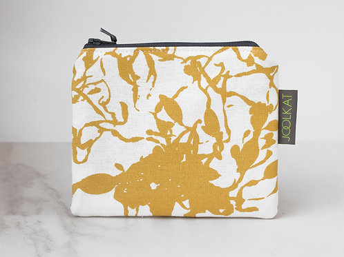 Hand Screen-printed Flat Cosmetic Pouch in Mustard Yellow Seaweed Design