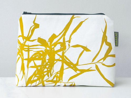 Hand Screen-printed Large Cosmetic Wash Bag in Mustard Bamboo Design