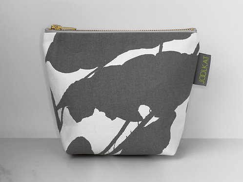 Hand Screen-printed Small Cosmetic Wash Bag in Grey Hoya Design