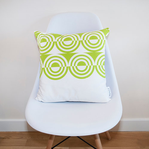 Hand Screen-printed Cushion Cover with Green d'Orsay Geometric Design