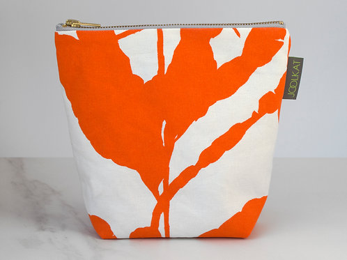 Hand Screen-printed Cosmetic Wash Bag in Orange Hoya Design