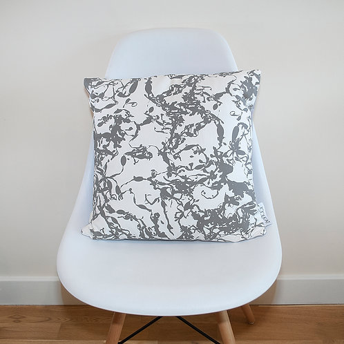 Hand Screen-printed Cushion Cover with Grey Seaweed Design