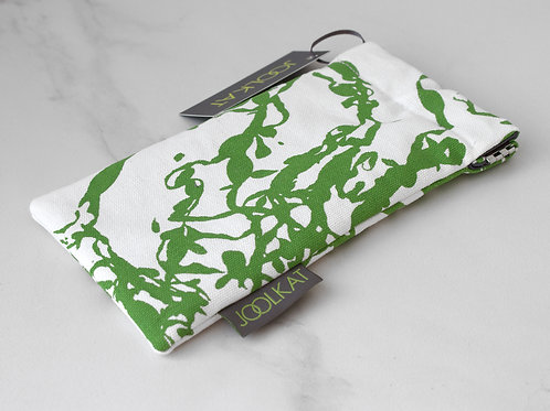 100% Cotton Glasses Case with Flex Frame in Green Seaweed Design