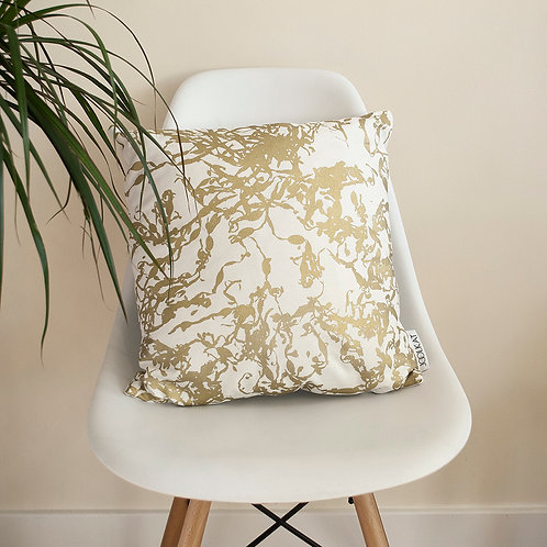Hand Screen-printed Cushion Cover with Metallic Gold Seaweed Design