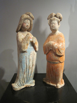 (BA)Tang Dynasty blue and orange painted pottery court lady__Bonnie Lai Antiques