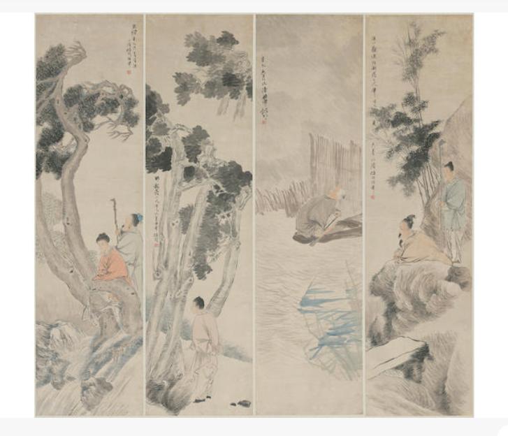 Ren YI (1840-1895) Figures in Landscape, 1881