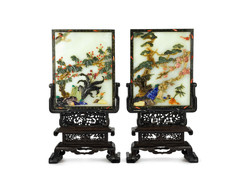 A PAIR OF INLAID WHITE JADE TABLE SCREENS LATE QING DYNASTY