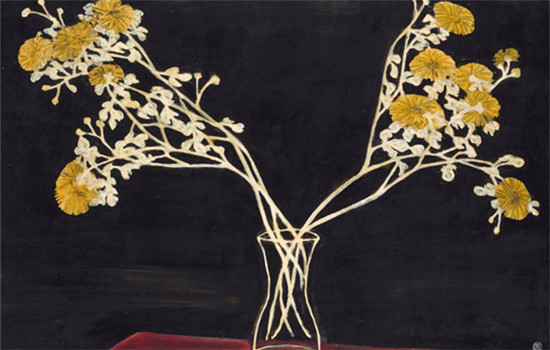 Sanyu (Chang Yu, China, 1901-1966). Chrysanthèmes dans un Vase en Verre (Chrysanthemums in a Glass Vase), 1950s.