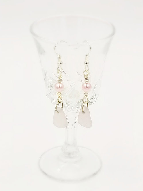 Pale Pink Sea Glass and Pearl Earrings