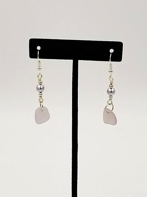 Rare Pale Purple Sea Glass & Pearl Earrings