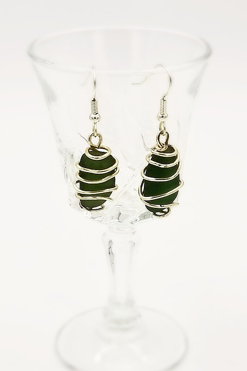 Wire wrapped Green Sea Glass