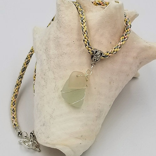 Sea Foam and Pink Sea Glass Pendant on a Braided Cord Pendant