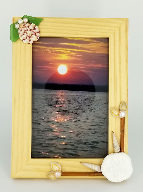 Nautical Photo Frame with Sea Biscuit, Scallop Shell, Sea Glass