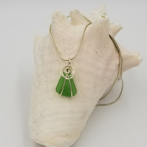 Green Sea Glass Pendant