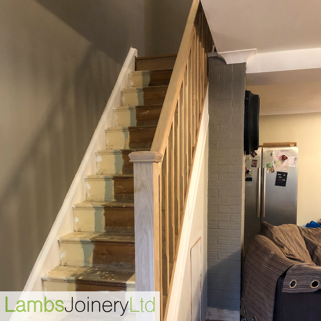 Oak handrail and spindles