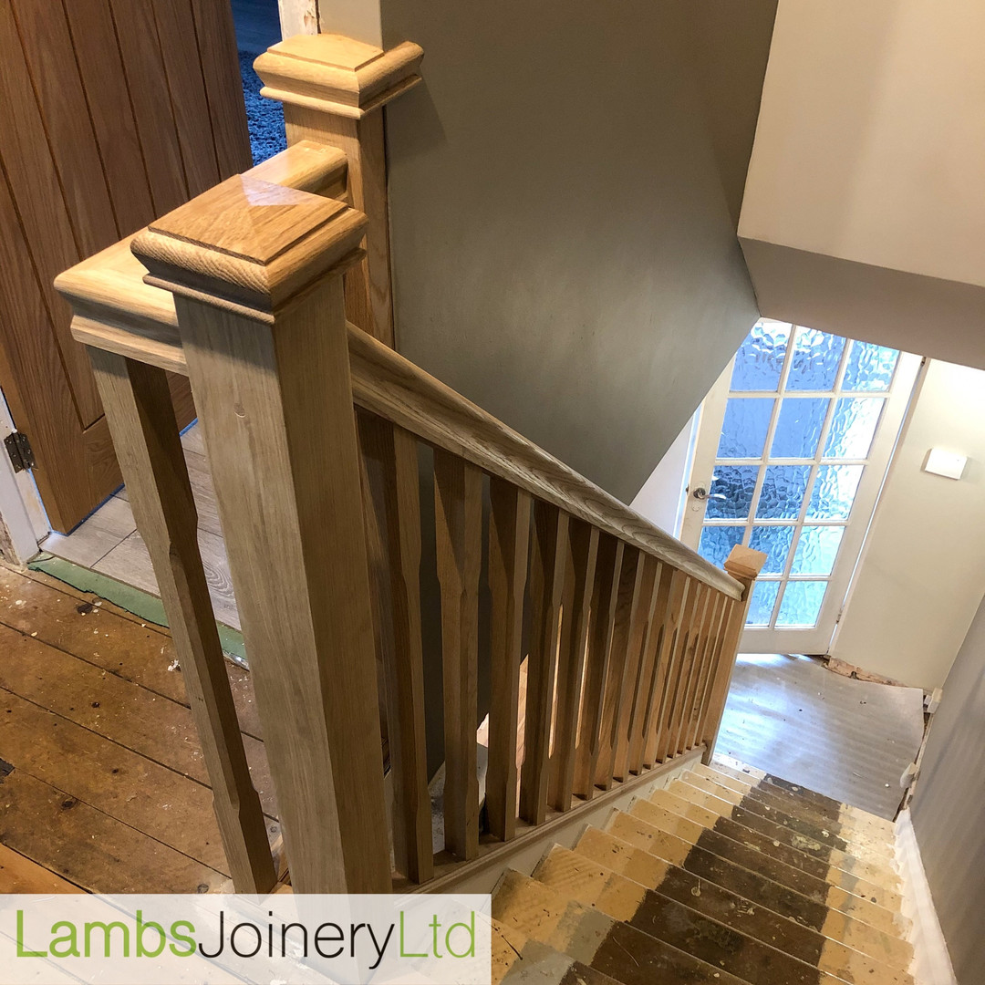 oak newel and handrail replacement