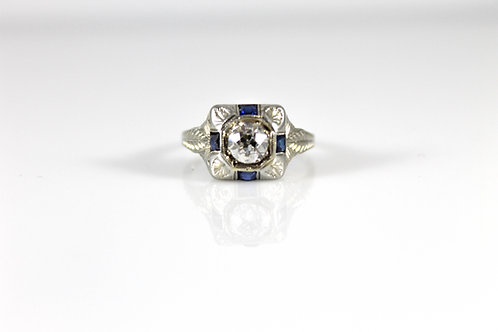 18k White Gold Lady's Sapphire and Dimaond Ring