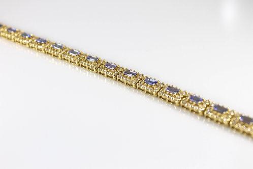 14k Yellow Gold Tanzanite and Diamond Bracelet