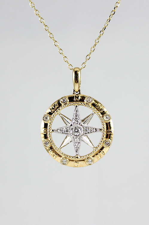 14k Two-Tone Gold and Diamond Compass Rose Necklace