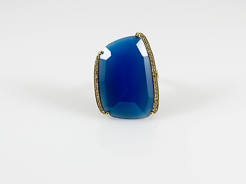 14k Yellow Gold Blue Chalcedony and Diamond Ring