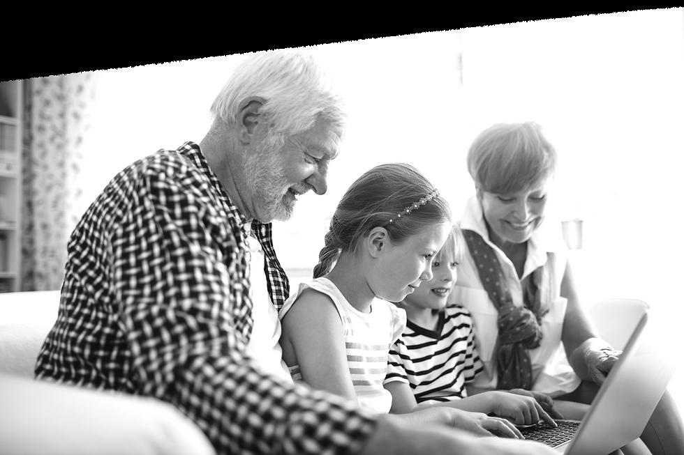 grandchildren-using-laptop-with-their-gr