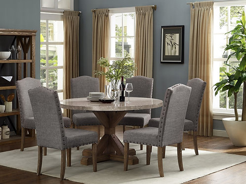 1211-54 Round Real Marble 5pc dining set by Crown Mark