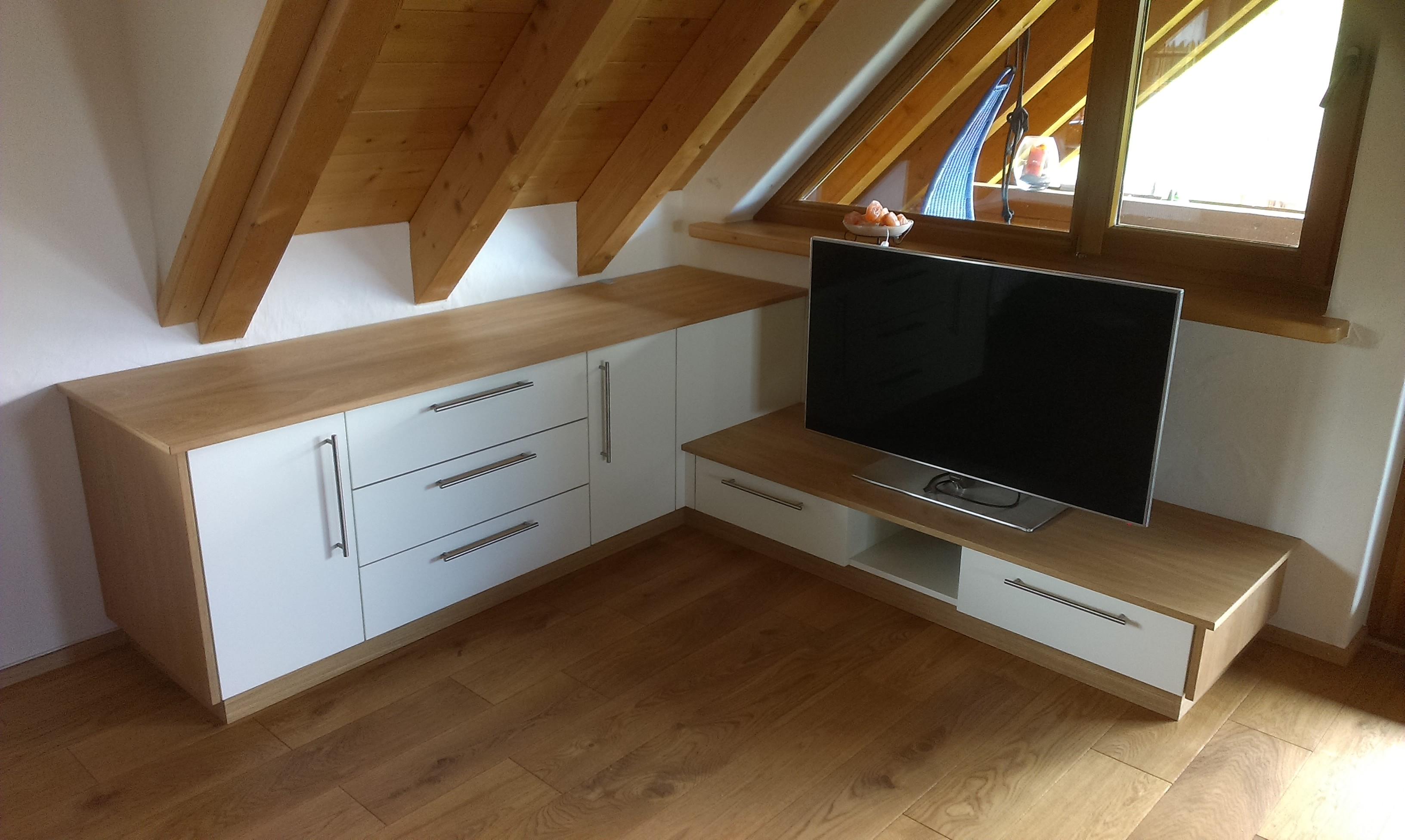 TV-Möbel, Eiche, weiß lackiert