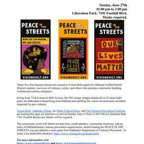 The installation of Banners for PEACE IN THE STREETS  Sunday, June 27th