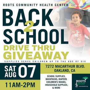 Roots Back to School Event Drive Thru Event: Saturday August 7th