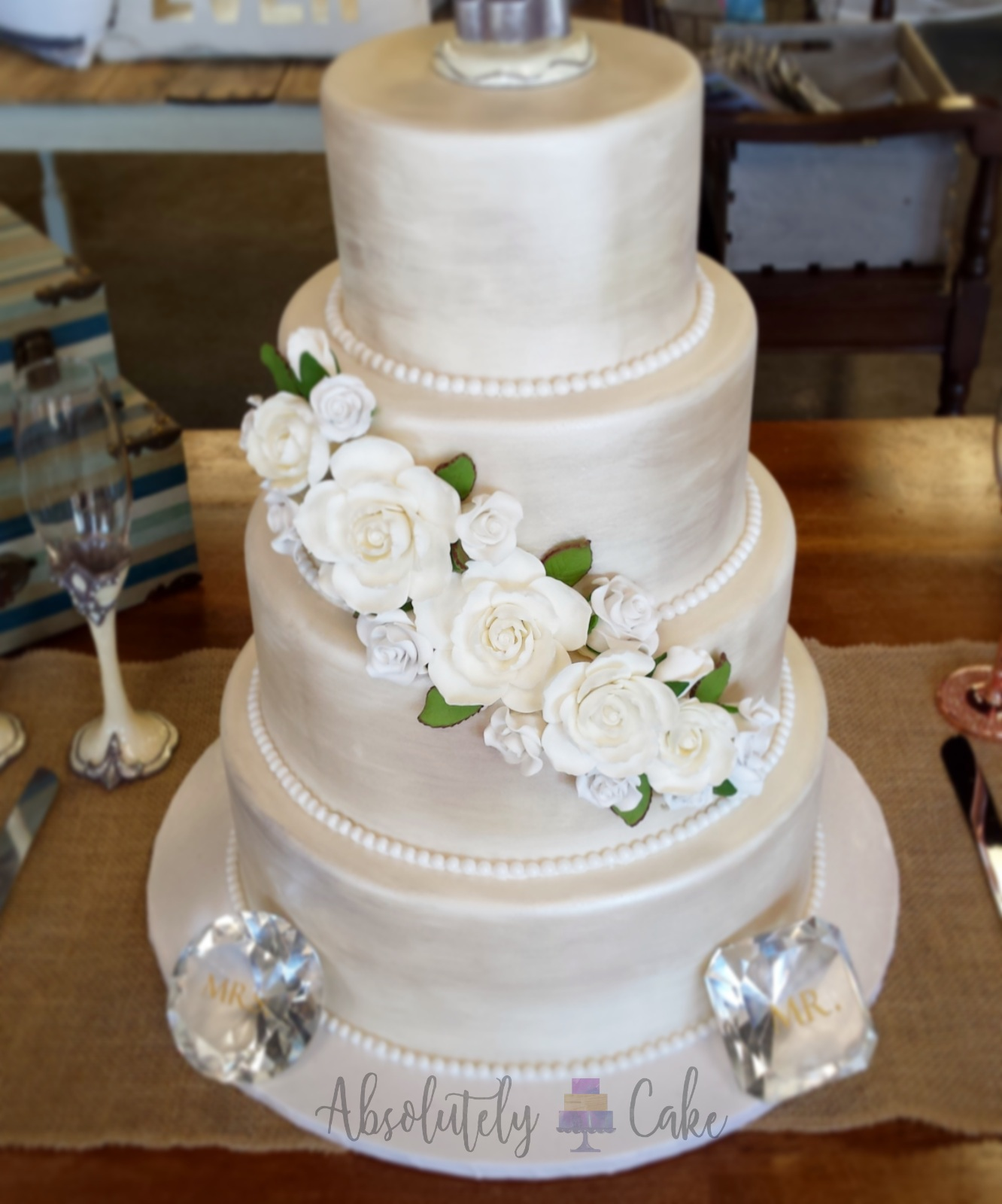 Champagne Satin Wedding Cake