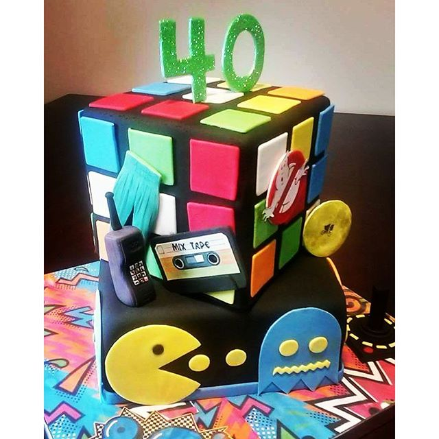 #absolutelycake #80sparty #pacman #rubixcube #oldschool #backintheday #40thbirthday