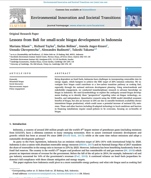 Lessons from Bali for small-scale biogas development in Indonesia