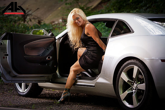 AH and her Silver Bullet CAMARO POSTER 16x20