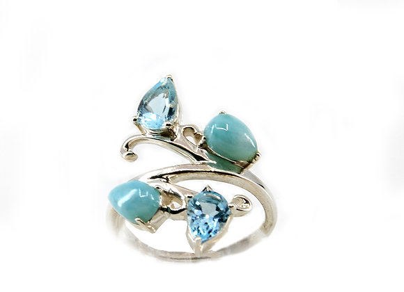 Larimar and Blue Topaz in Sterling Silver
