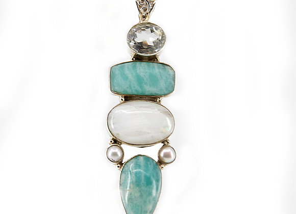 Amazoinite  with Moonstone and Perls set in Sterling Silver