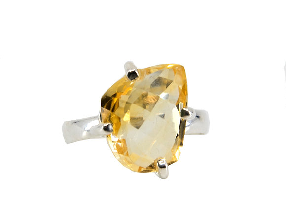 Citrine Faceted Sterling Silver Ring
