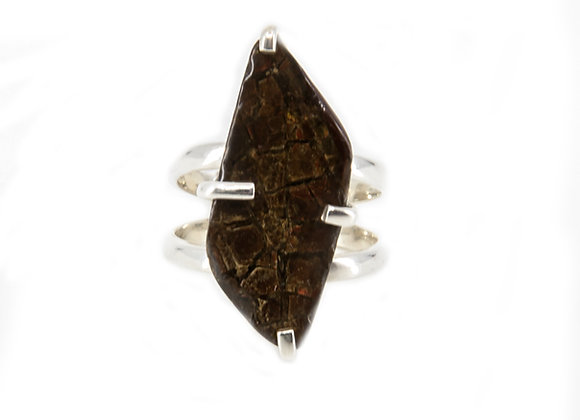 Anolite Canadian set in Sterling Silver with red shimmer