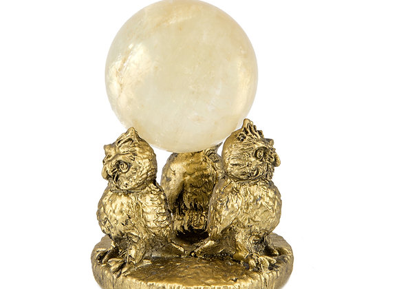Golden Calcite Sphere on Owl Gold Stand