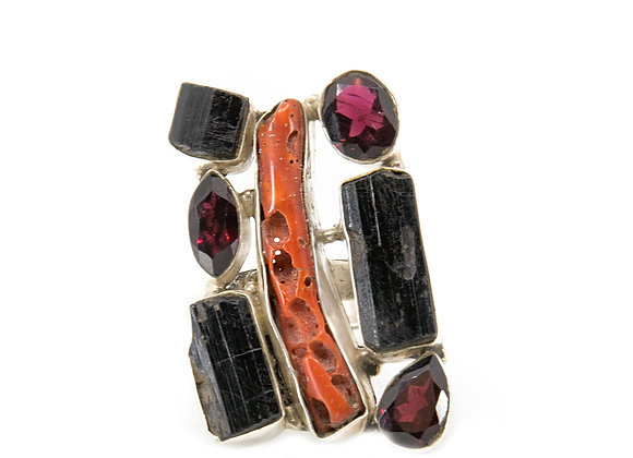 Red Coral Black Tourmaline with Garnet Ring