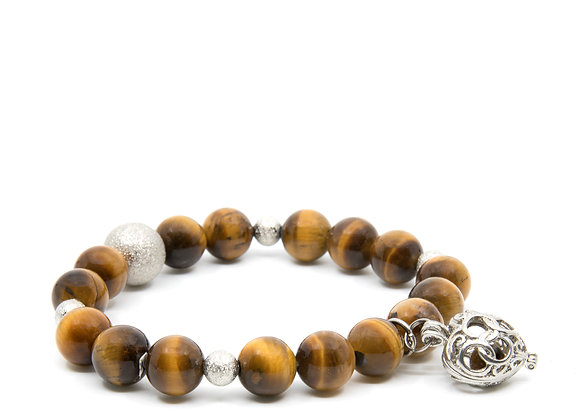 Tiger Eye Beaded Bracelet with Heart Pendent