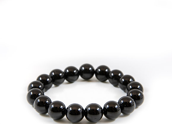 Black Tourmaline Large  Bead Braislet