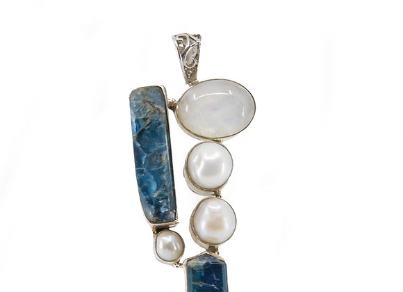 Kyanite Moonstone and Perls set in Sterling Silver