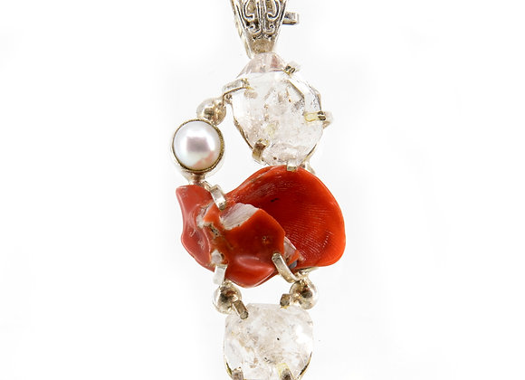 Red Coral with Herkimar Diamonds and Perl