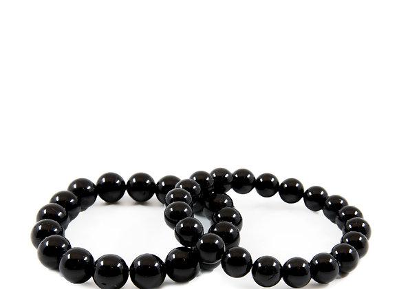Black Turmaline Large Bead Braislet
