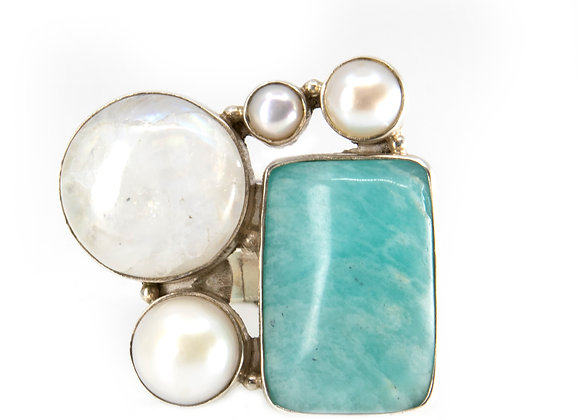 Amazing Amazonite Silver Ring with Moonstone and Pearls