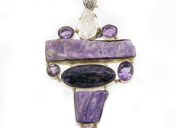 Charoite with Herkamar Dimond with Faceted Amethyst and Clear Quartz