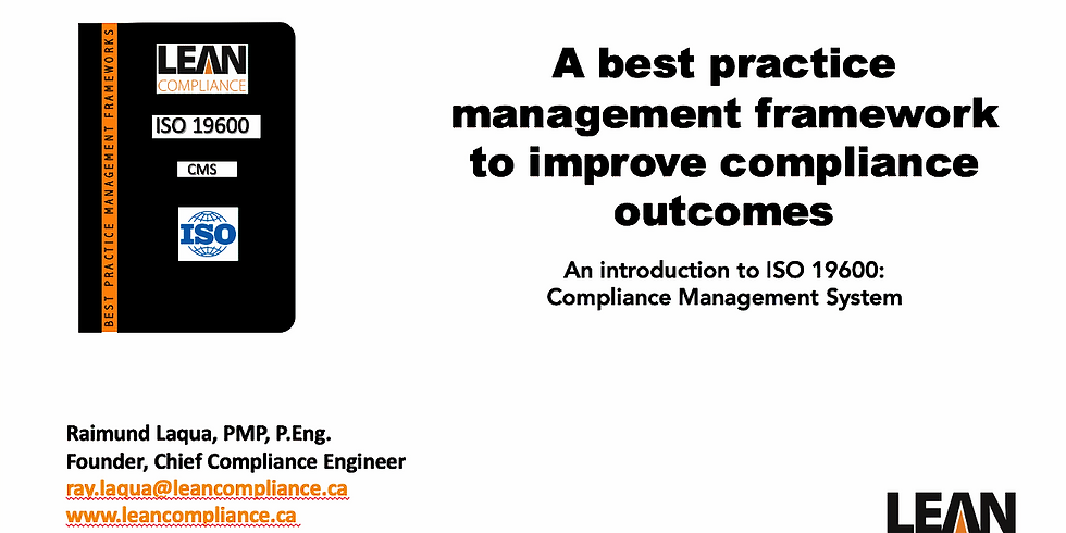 A best practice management framework to improve compliance outcomes