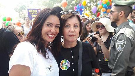 זהבה גלאון (מימין) ומירי רגב במצעד הגאוו